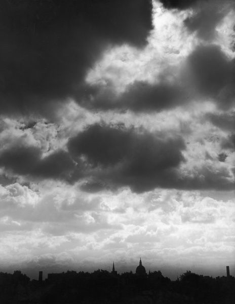 Stormy clouds over a St. Paul's Cathedral skyline, a London study