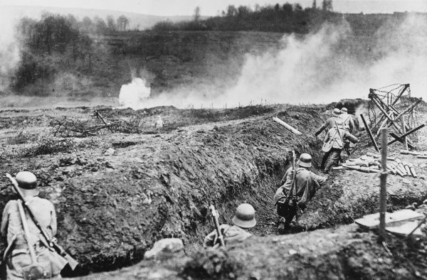 Storm troops practicing an attack supported by flamethrowers near Sedan during World War I