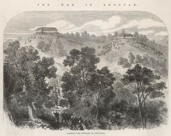 British forces storm the fort at Dewangiri (at modern day Deothang) during the Bhutan War, also known as the Duar War. Bhutan was defeated within five months and the fort dismantled