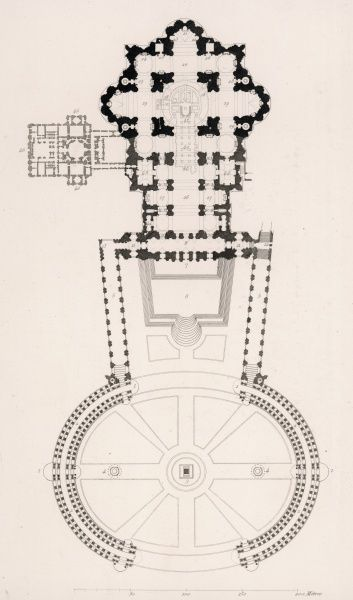 The interior plan of the church of San Pietro in the Vatican, Rome