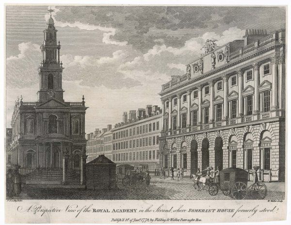 Looking eastward along the Strand, with St Mary-le-Strand on the left, and Somerset House, housing the Royal Academy, on the right Date: 1779