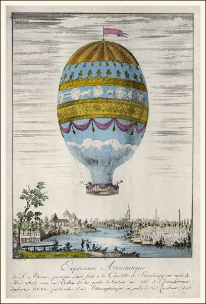 The aeronautic experience of Adorne who flew over Strasbourg, France, at a height of 80 feet. He and his companion wave as they pass over the city