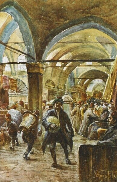 A view of the Street of Book Sellers at the Grand Bazaar, Constantinople. In the old days of the Ottoman Empire it was said that the only thing a Gentleman could carry in the street was a watermelon