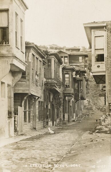 A street in Buyukdere, Istanbul, Turkey. Old traditional Ottoman houses at the end of the Sultunate