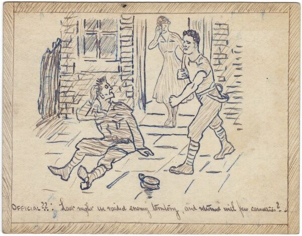 Drawing of two men engaged in a punch up in the street, much to the horror of a lady watching from a doorway (possibly the cause of the fight) accompanied by a WWI-themed cpation 'Last night we raided enemy territory and returned with few casualties&#39
