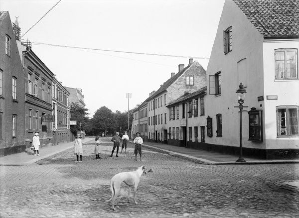 The street in Landskrona town where the photographers A. Hagman and Carl Christersson had their studio 1913 Date: 1913