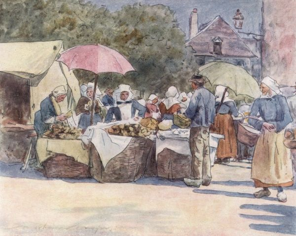Selling bread underneath parasols in Brittany. Date: 1905