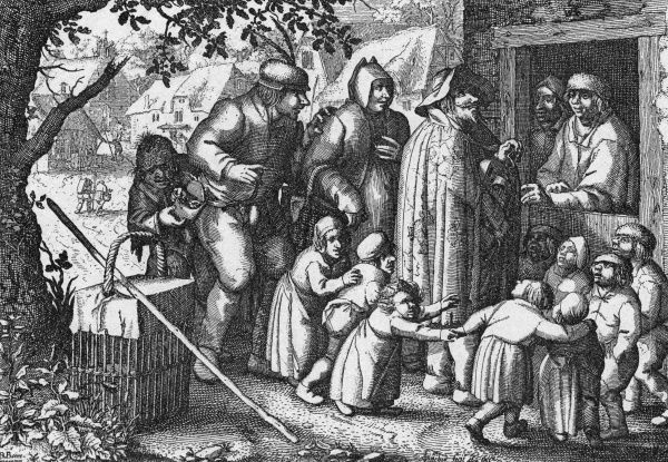 Street scene showing a blind hurdy gurdy player performing in 17th century Holland. Date: 17th century