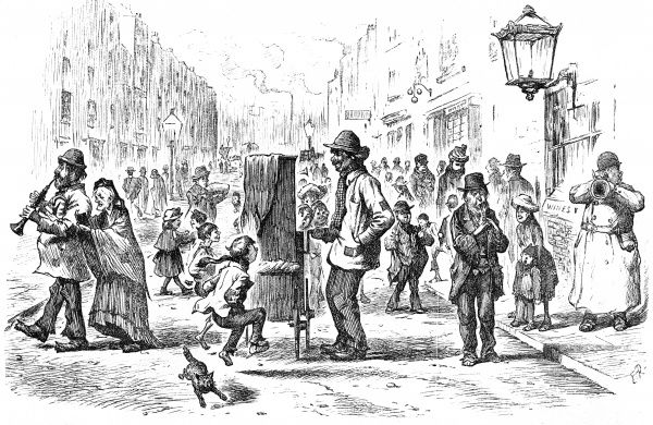 A noisy street scene of 1892:children dance to a barrel organ, competing with an accordion, penny whistle and the hubbub of passers by