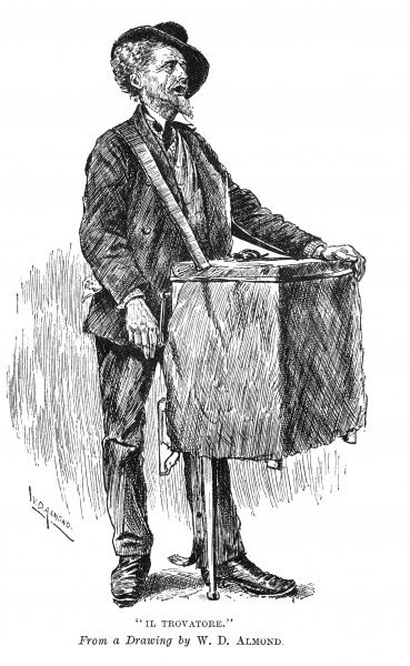 A barrel organ grinder plying his trade. Date: c.1890