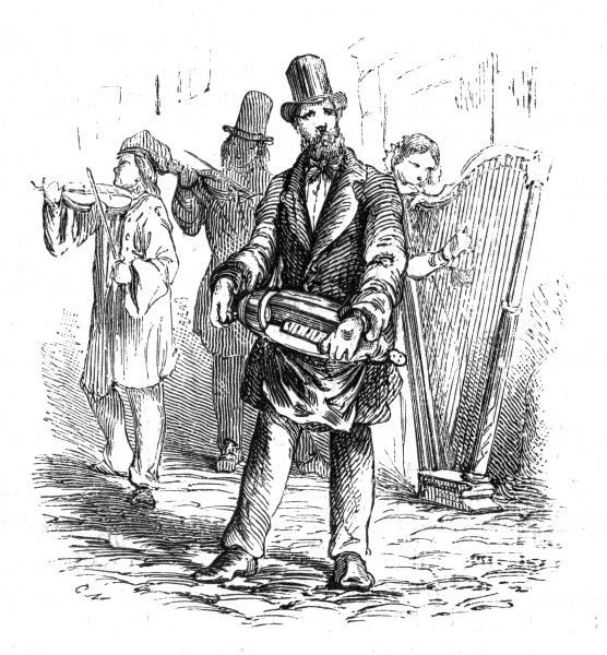 A hurdy gurdy player performing on the street, accompanied by two violins and a harp. Date: 1857
