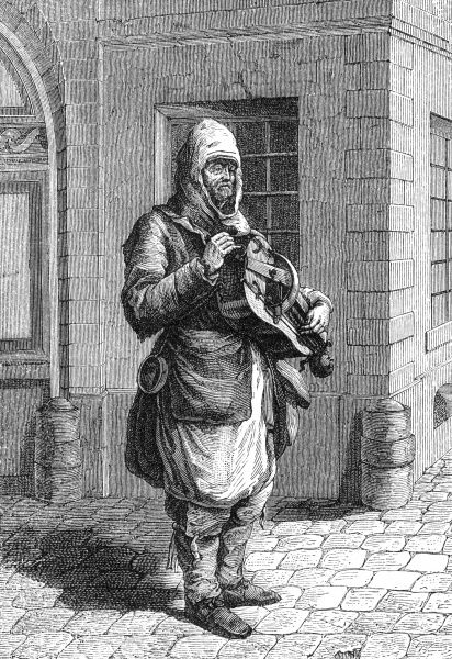 Michel le Clerc, 18th century hurdy gurdy player, performing on the streets of Paris. Date
