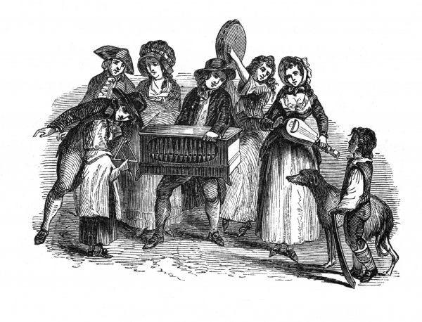 An organ grinder plying his trade, surrounded by various other musicians. A buxom lady plays a stringed instument, while a boy and his dog look on. Date: c.1789