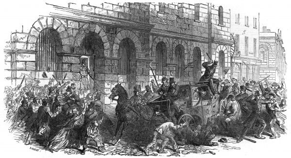 Crowds attack the carriage in which Mr Sloane is riding as he travels to court, accused of horrendous cruelty to a servant girl. The citizens take the law in to their own hands, launching a violent assault on a man not yet found guilty. Date: 1851