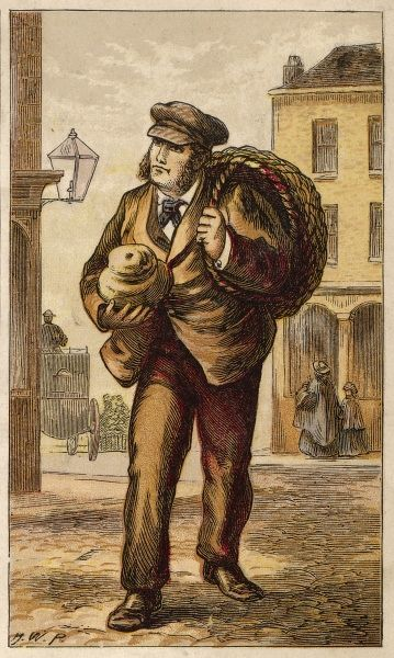 London characters: the BAKER spend his nights baking, then in the day he carries his loaves from door to door. Does he ever sleep ? Date: circa 1870