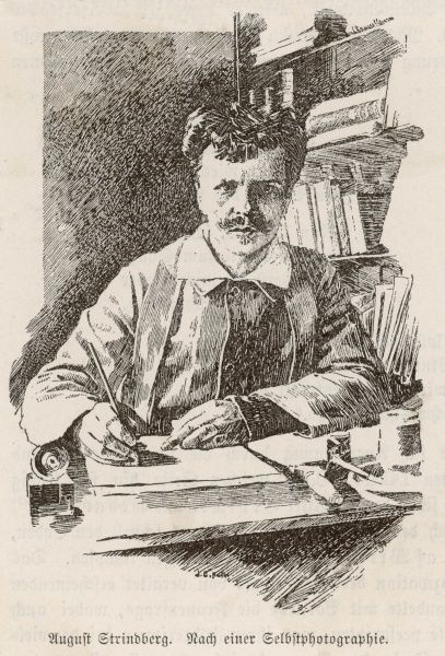 JOHAN AUGUST STRINDBERG Swedish playwright and novelist, best known for his play 'Miss Julie' (1888), seen writing at his desk