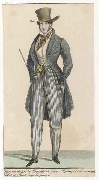 Straw hat with broad brim & spreading crown, loosely tied plaid cravat, grey frock coat with roll collar, blue striped cossacks with fly front, white waistcoat, yellow fob ribbon
