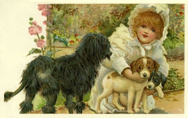 Stroefer. Girl with dogs. Anon. c1903.jpg