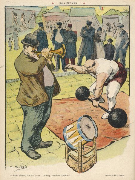 A man plays a fanfare on a cornet to herald the great feat of strength being performed by a strong man at a fair, while a few people stand looking