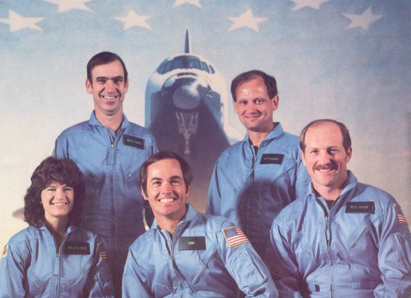 The STS-7 / Challenger crew who preformed the first satellite deployment: Robert Crippen (Commander), Frederick Hauck - John Fabian Sally Ride & Norman Thagard