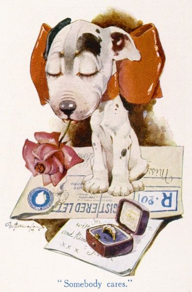 The Studdy Dog, later known as Bonzo, appearing as an example of animal caricatures in an article in The Strand magazine. This particular dog appears to be getting ready to post a love letter together with an engagement ring. Credit should read