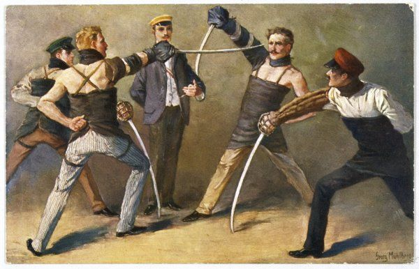 The 'Mensur' (fencing bout) - both duellists hope they will be scarred for life