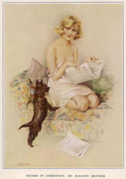 Lady dressed in a negligee, coyly glancing away from her newspaper. Suzanne Meunier was a French artist who produced a number of erotic illustrations for The Sketch and The Bystander during the 1920s and 30s