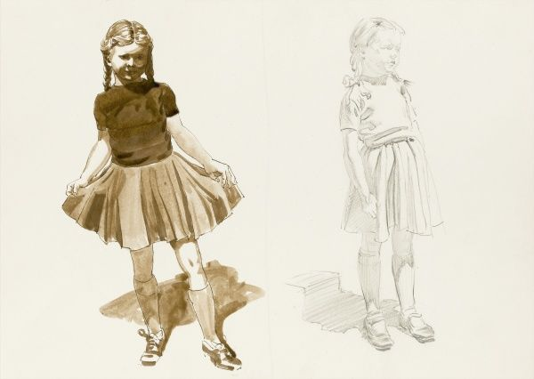 Two studies of a young girl - holding out her pleated skirt as if to curtsey (left) and standing with hands by her side (right). Studies in pencil and watercolour wash by Raymond Sheppard