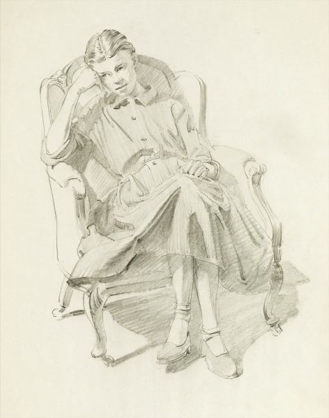 A beautiful pencil drawing of a young woman, seated in an armchair, her head delicately resting on her hand. Study by Raymond Sheppard
