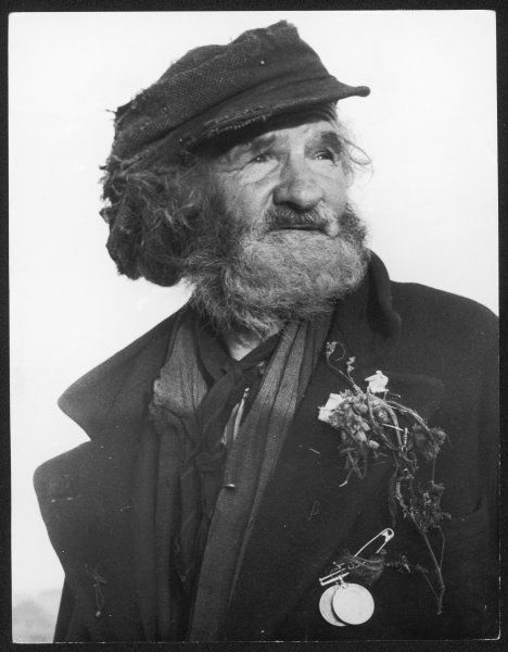 A study of an old man, a tramp, with matted hair, a gypsy sprig pinned to his lapel and a couple of war medals pinned to his coat with a safety pin