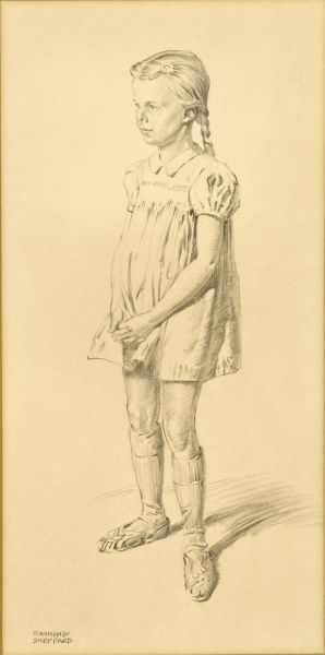 Pencil study of a Young Girl by Raymond Sheppard