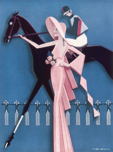 A stylised illustration showing an elegant lady leading a racehorse in the paddock