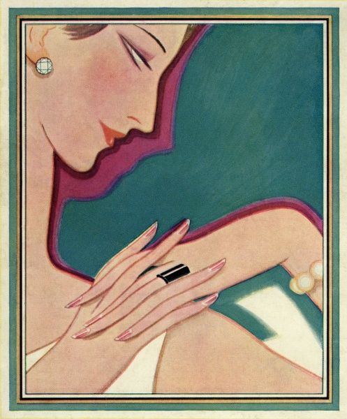 A stylish lady by Helen Dryden. A smart and stylish 1920s lady examining the cuticles of her nails. Date: 1926