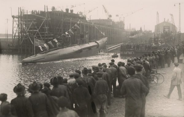 Launching of a submarine, Kockums shipyard, Malmo, Sweden, 1921 Date: 1921