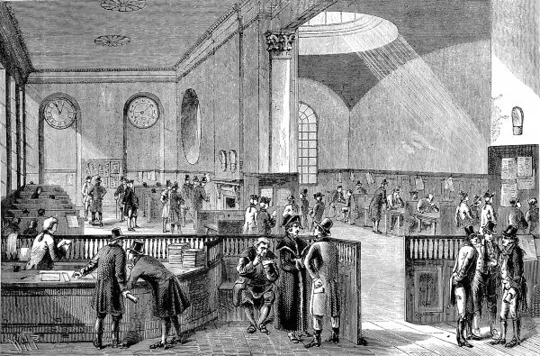 Engraving showing the Subscription Room of Lloyd's of London, the insurance company, in the 18th century