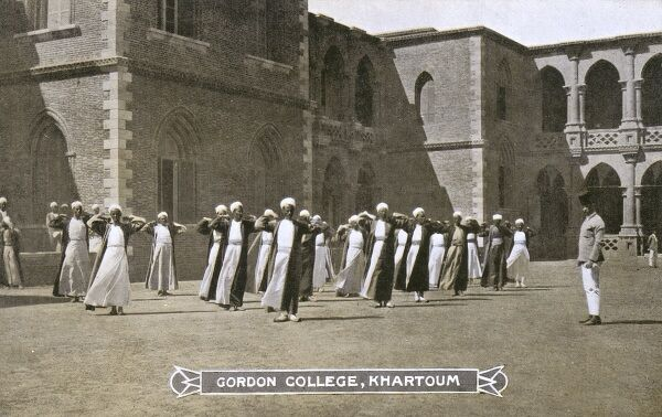 Sudan - Physical Exercise for the students at Gordon College Khartoum. Date: circa 1910s