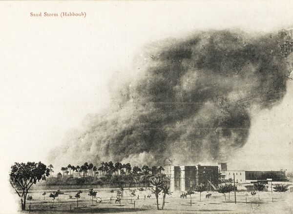 A sandstorm in the Sudanese desert - an immense cloud of sand rises up over the horizon and the buildings of the capital, Khartoum