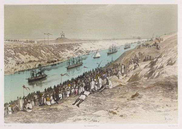 The procession of boats, one of which carries the French Emperor, passes El Guist, watched by thousands - many of whom are doubtless workers who helped build the Canal