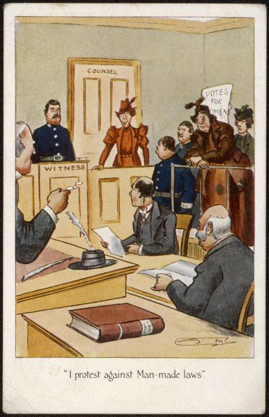 Arrested suffragette in the dock : 'I protest against Man- made laws !&#39