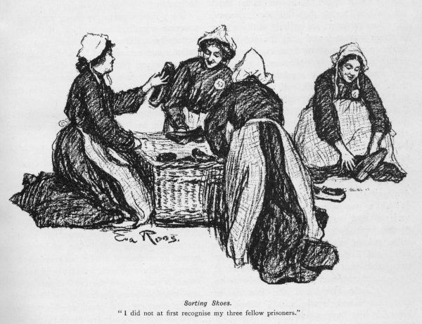 A group of suffragettes, wearing prison uniform of quaint Dutch style caps and aprons at Holloway Prison, sort through a basket of old shoes, trying to find a pair to fit. A sketch to accompany an article in Lady's Realm by Dr Helen Bourchier