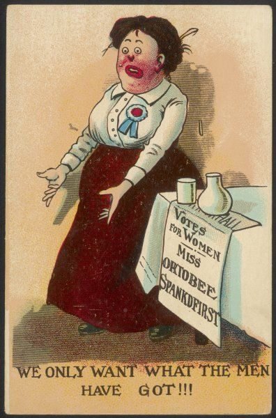 'We only want what the men have got !' - Miss Ortobee Spankdfirst addresses the public - one of the crudest cards in our collection