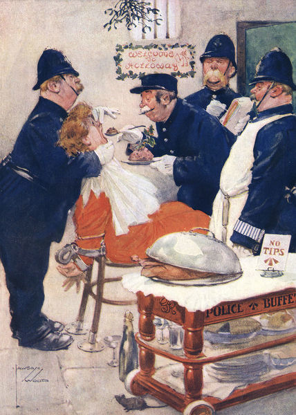Four portly prison officers and policemen force feed a handcuffed suffragette Christmas pudding from the police buffet trolley in Holloway Prison. Date: 1912