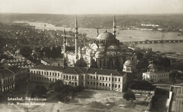 An overhead view of the large Suleymaniye Mosque in Istanbul, Turkey