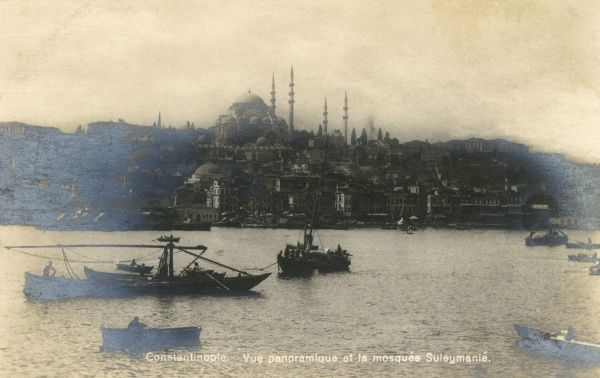 The Suleymaniye Mosque with view over Golden Horn - Istanbul, Turkey. Date: circa 1900