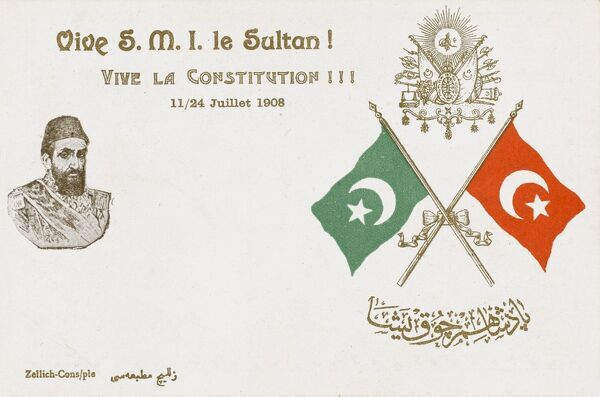A patriotic postcard celebrating the Constitution of July 1908