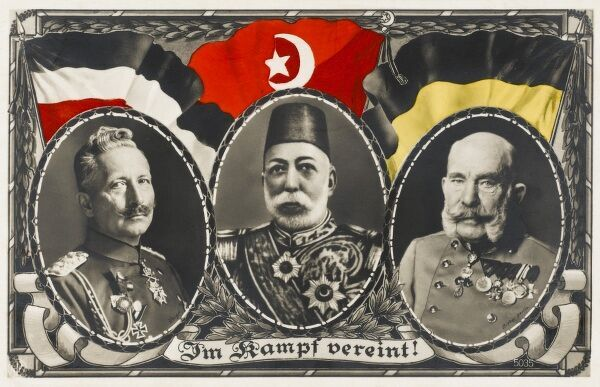 Sultan Mehmed V Reshad of Turkey (1844 - 1918), pictured with Kaiser Wilhelm II, and Franz Joseph of Austro-Hungary; the three emperors of the Central Powers in World War I