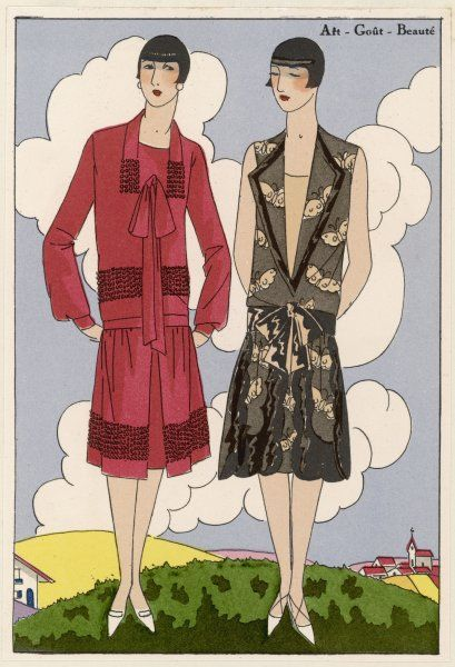 Two afternoon dresses for summer, by Bernard in crepe on the left, by Brandt in muslin on the right