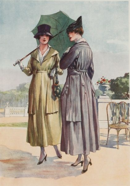Two women dressed in the latest Parisian fashions for summer. Both wear walking costumes, and one holds a parasol