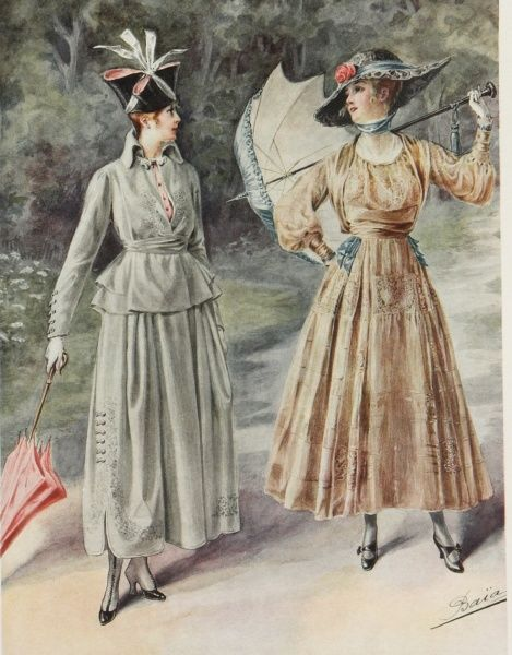 Two elegant ladies enjoy posing in their new outfits while out for a walk in the park during the summer of 1916