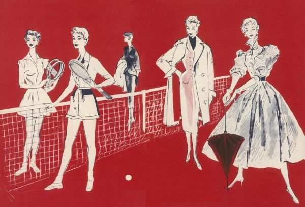 A variety of fashions for a 1950s summer. From left, two tennis fashions by Louis London. In the background, an impeccably tailored summer suit in chiffon weight wool and pure silk mixture with the jacket and skirt both lined. Designed by Roter
